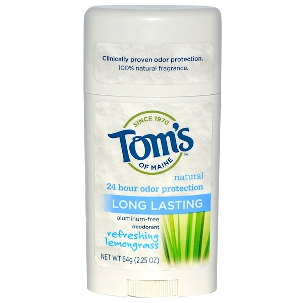 Tom's of Maine, Natural Long Lasting Deodorant, Aluminum-Free, Refreshing Lemongrass, 2.25 oz (64 g)