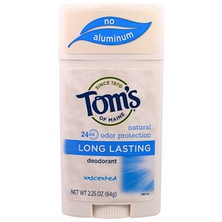 Tom's of Maine, Natural Long-Lasting Deodorant, Unscented, 2.25 oz (64 g)
