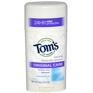 Tom's of Maine, Original Care Deodorant, Aluminum-Free, Unscented, 2.25 oz (64 g)