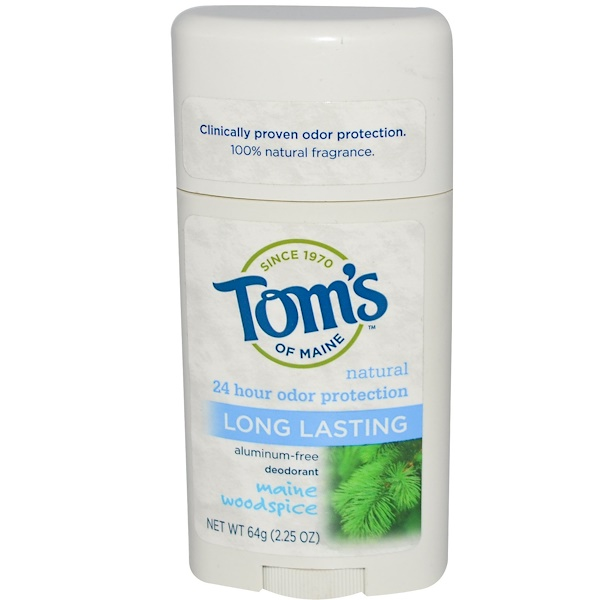 Tom's of Maine, Natural Long Lasting Deodorant, Aluminum-Free, Maine Woodspice, 2.25 oz (64 g)