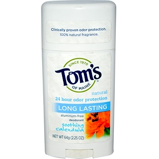 Tom's of Maine, Natural Long Lasting Deodorant, Aluminum-Free, Soothing Calendula, 2.25 oz (64 g)