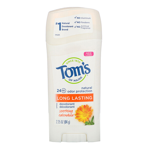 Tom's of Maine, Natural Long Lasting Deodorant, Aluminum-Free, Soothing Calendula, 2.25 oz (64 g) (Discontinued Item)