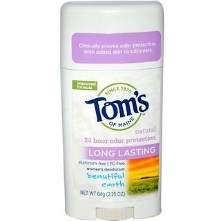 Tom's of Maine, Натуральный стойкий дезодорант для женщин, Beautiful Earth, 2,25 унции (64 г)