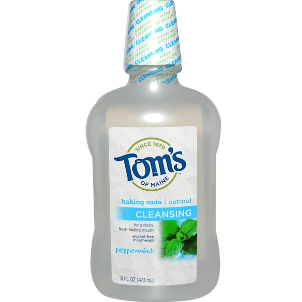 Tom's of Maine, Alcohol-Free Baking Soda Mouthwash, Cleansing, Peppermint, 16 fl oz (473 ml) (Discontinued Item)