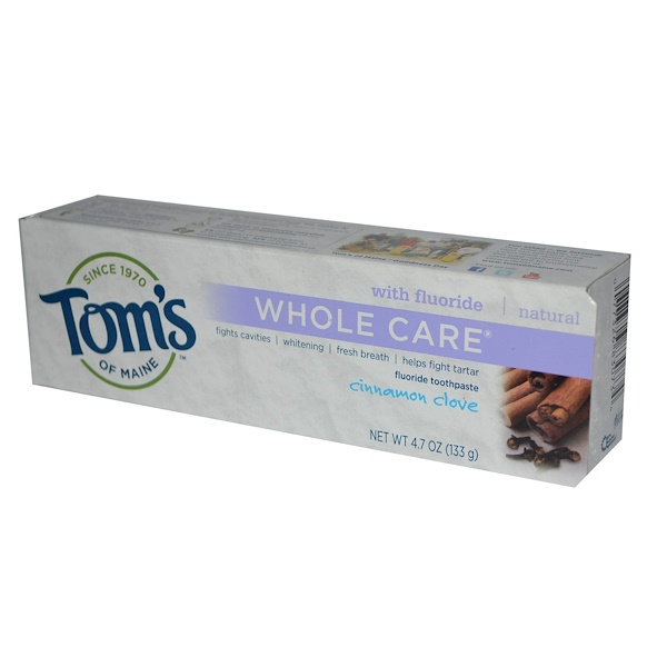 Tom's of Maine, Whole Care Fluoride Toothpaste, Cinnamon Clove, 4.7 oz (133 g) (Discontinued Item)