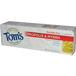 Tom's of Maine, Natural Antiplaque, Propolis & Myrrh Toothpaste, Fluoride-Free, Fennel, 5.5 oz (155.9 g)