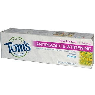 Tom's of Maine, Natural Antiplaque & Whitening Toothpaste, Fluoride-Free, Fennel, 5.5 oz (155.9 g)