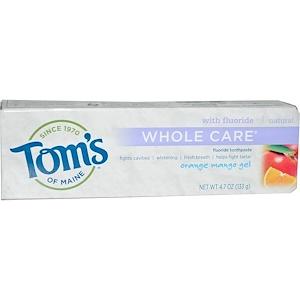 Томс оф Мэйн, Whole Care Fluoride Toothpaste, Orange Mango Gel, 4.7 oz (133 g) отзывы