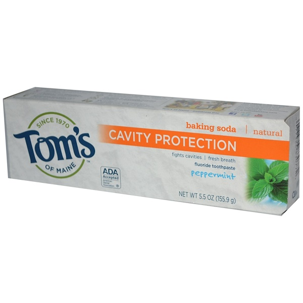 Tom's of Maine, Baking Soda Cavity Protection, Fluoride Toothpaste, Peppermint, 5.5 oz (155.9 g)