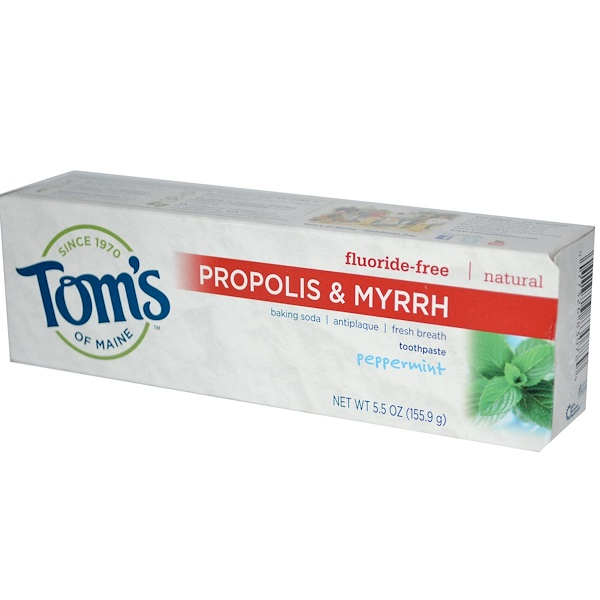 Tom's of Maine, Propolis & Myrrh, Fluoride-Free Toothpaste, Peppermint, 5.5 oz (155.9 g)
