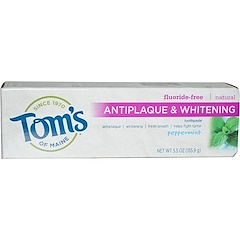 Tom's of Maine, Antiplaque & Whitening, Fluoride-Free Toothpaste, Peppermint, 5.5 oz (155.9 g)