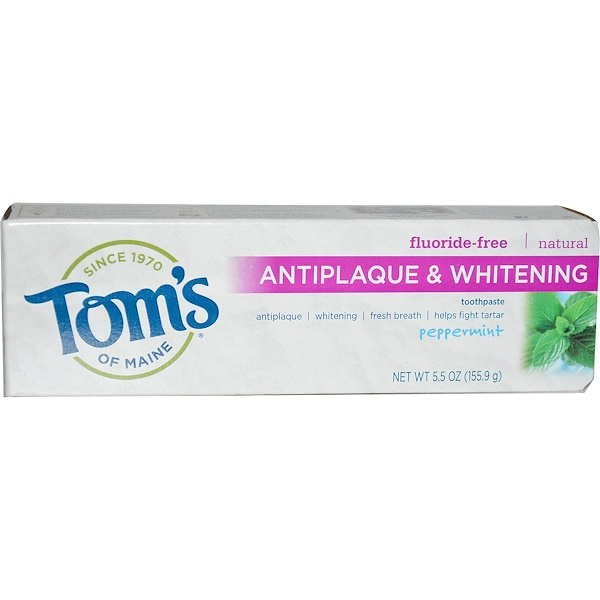 Tom's of Maine, Antiplaque & Whitening, Fluoride-Free Toothpaste, Peppermint, 5.5 oz (155.9 g)