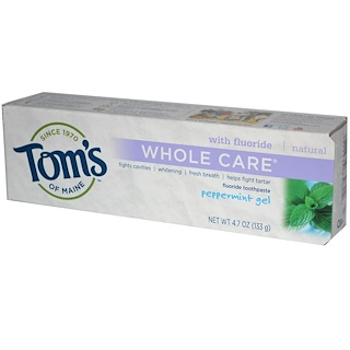 Tom's of Maine, Whole Care Fluoride Toothpaste, Peppermint Gel, 4.7 oz (133 g)
