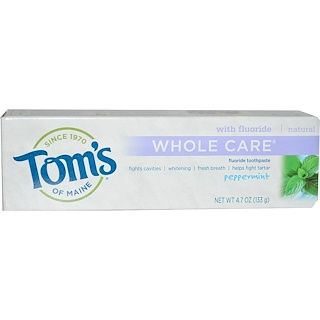 Tom's of Maine, Whole Care Fluoride Toothpaste, Peppermint, 4.7 oz (133 g)