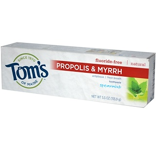 Tom's of Maine, Propolis & Myrrh, Fluoride-Free Toothpaste,  Spearmint, 5.5 oz (155.9 g)