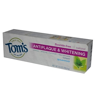Tom's of Maine, Antiplaque & Whitening, Fluoride-Free Toothpaste, Spearmint, 5.5 oz (155.9 g)