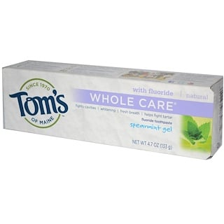 Tom's of Maine, Whole Care Fluoride Toothpaste, Spearmint Gel, 4.7 oz (133 g)