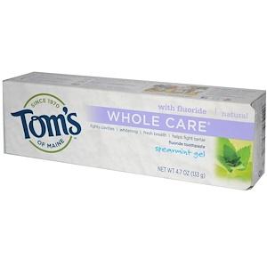 Томс оф Мэйн, Whole Care Fluoride Toothpaste, Spearmint Gel, 4.7 oz (133 g) отзывы покупателей