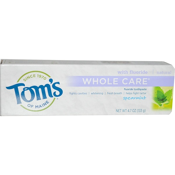 Tom's of Maine, Whole Care Fluoride Toothpaste, Spearmint, 4.7 oz (133 g) (Discontinued Item)