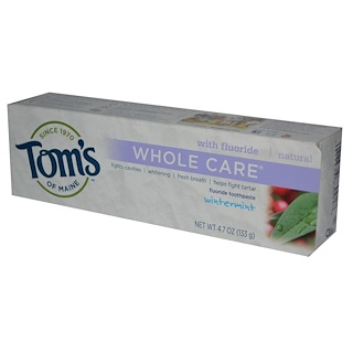 Tom's of Maine, Whole Care, Fluoride Toothpaste, Wintermint, 4.7 oz (133 g)