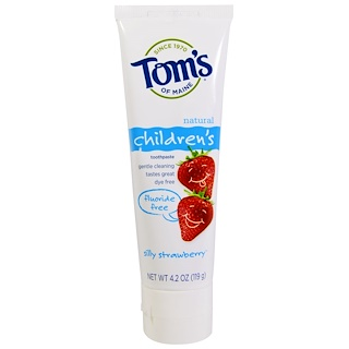 Tom's of Maine, Creme Dental Infantil, Sem Flúor, Morangos Divertidos, 4,2 oz (119 g)