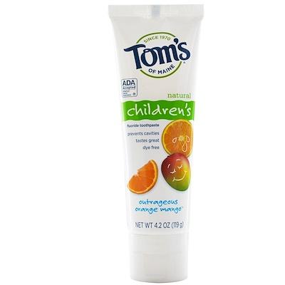 Натуральная детская зубная паста со фтором, со вкусом апельсина и манго, 119г (4,2унции)