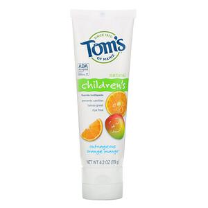 Томс оф Мэйн, Natural Children's Fluoride Toothpaste, Outrageous Orange Mango, 4.2 oz (119 g) отзывы покупателей