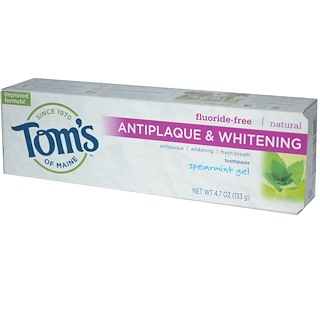 Tom's of Maine, Antiplaque & Whitening, Fluoride-Free  Toothpaste, Spearmint Gel, 4.7 oz (133 g)