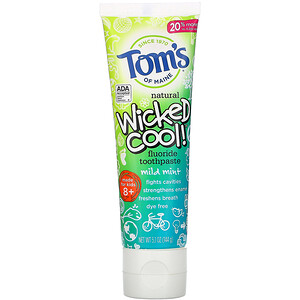 Tom's of Maine, Wicked Cool!, Natural Fluoride Toothpaste, Kids 8+, Wild Mint, 5.1 oz (144 g)'