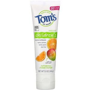 Tom's of Maine, Natural Children's Fluoride Toothpaste, Outrageous Orange Mango, 5.1 oz (144 g)'