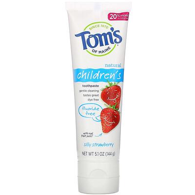 Купить Tom's of Maine Natural Children's Toothpaste, Fluoride-Free, Silly Strawberry, 5.1 oz (144 g)