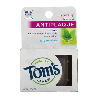 Naturally Waxed Antiplaque Flat Floss, Spearmint, 29.2 m (32 yd)