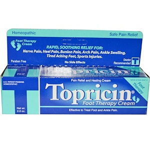 Topricin, Терапевтический обезболивающий и заживляющий крем для ног, 2 унции