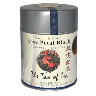 The Tao of Tea, Rose Petal Black Tea, Sweet & Floral Scented Black Tea, 4 oz (115 g)