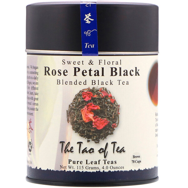 Sweet & Floral Blended Black Tea, Rose Petal Black, 4 oz (115 g)