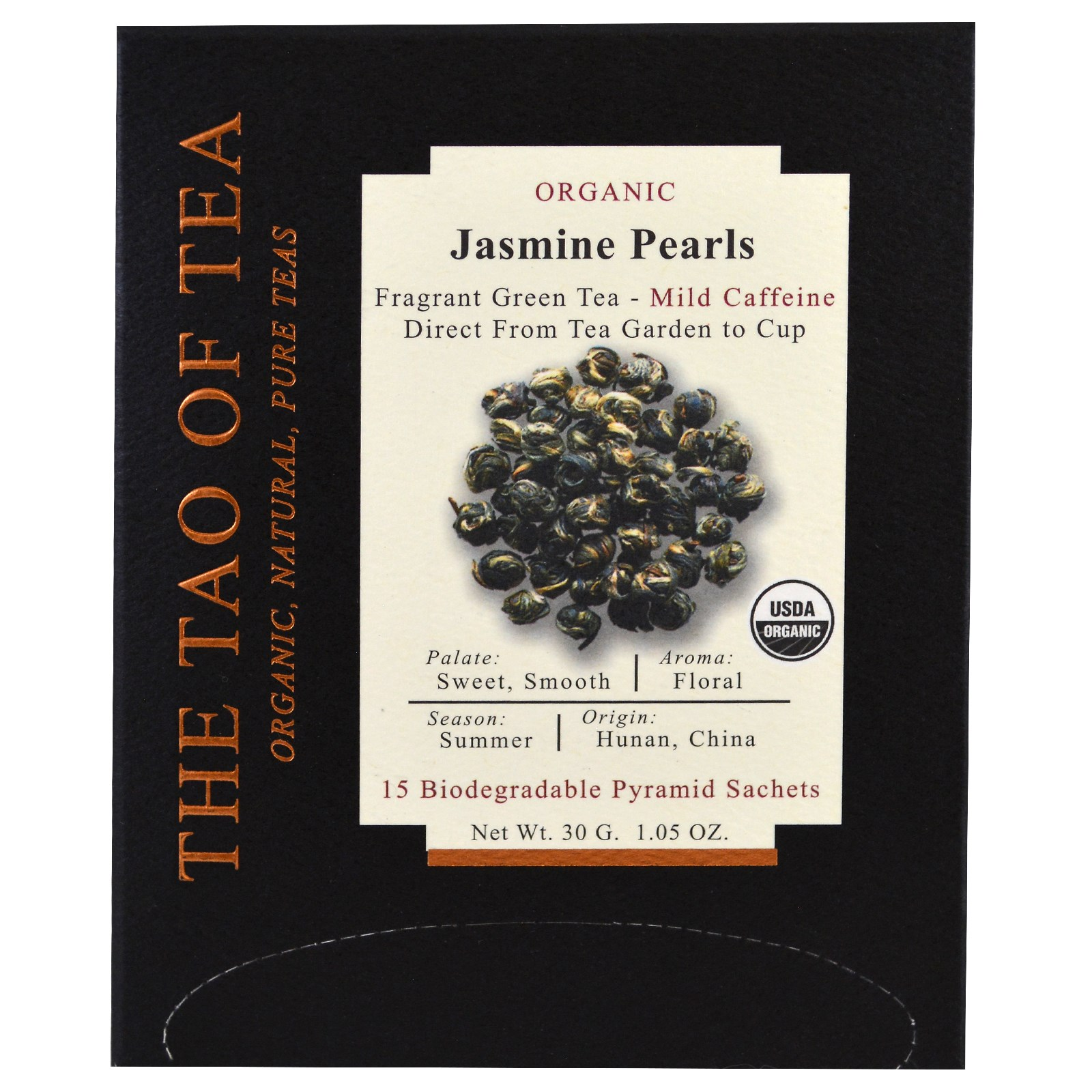 The Tao of Tea, Органический Jasmine Pearls, 15 пирамидок, 1,05 унц. (30 г)