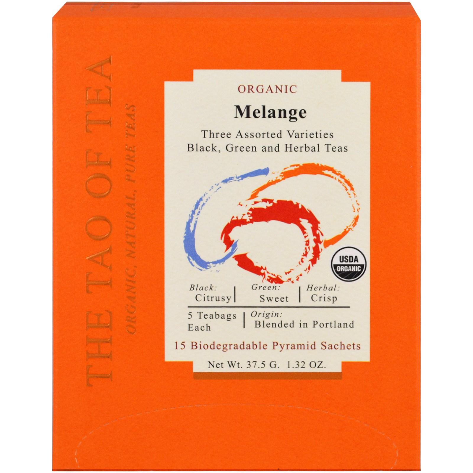 The Tao of Tea, Органический меланж, три разновидности в ассортименте, 15 пакетиков-пирамидок, 1,32 унц. (37,5 г)
