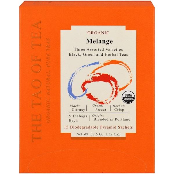 The Tao of Tea, Органический меланж, три разновидности в ассортименте, 15 пакетиков-пирамидок, 1,32 унц. (37,5 г) (Discontinued Item)