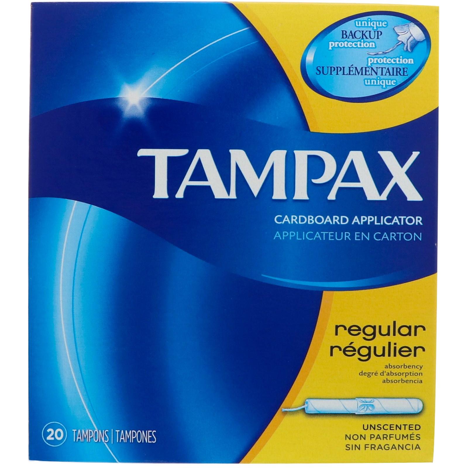 Tampax, Cardboard, Regular, Unscented, 20 Tampons
