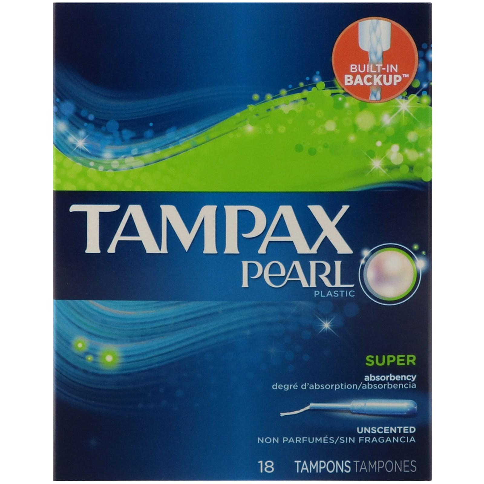 Tampax, Pearl, супер, без запаха, 18 тампонов