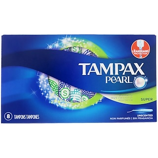 Tampax, Pearl Super, Unscented, 8 Tampons