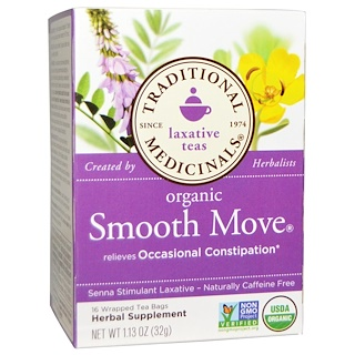 Traditional Medicinals, Organic Smooth Move, Senna Stimulant Laxative, Caffeine Free, 16 Wrapped Tea Bags, 1.13 أونصة(32 غ)