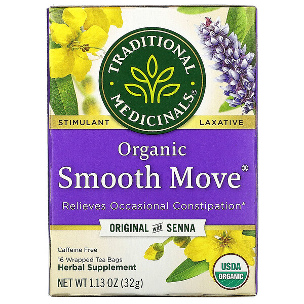 Organic Smooth Move, Original with Senna, Caffeine Free, 16 Wrapped Tea Bags, 1.13 oz (32 g)