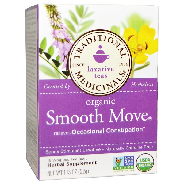 Laxative Teas, Organic Smooth Move, Senna Stimulant Laxative, Naturally Caffeine Free  Herbal Tea, 16 Wrapped Tea Bags, 1.13 oz (32 g)
