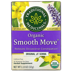Традитионал Медисиналс, Organic Smooth Move, Original with Senna, Caffeine Free, 16 Wrapped Tea Bags, 1.13 oz (32 g) отзывы покупателей
