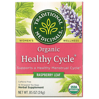 Traditional Medicinals, Organic Healthy Cycle, Raspberry Leaf, Caffeine Free, 16 Wrapped Tea Bags, .85 oz (24 g)