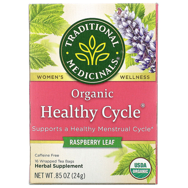 Organic Healthy Cycle, Raspberry Leaf, Caffeine Free, 16 Wrapped Tea Bags, .85 oz (24 g)