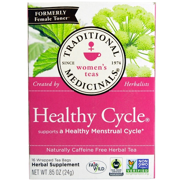 Traditional Medicinals, Women's Teas, Healthy Cycle, Naturally Caffeine Free Herbal Tea, 16 Wrapped Tea Bags, .85 oz (24 g)