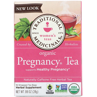 Traditional Medicinals, Women's Tea, Organic Pregnancy Tea, Caffeine Free, 16 Wrapped Tea Bags, .99 oz (28 g)