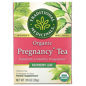 Традитионал Медисиналс, Organic Pregnancy Tea, Raspberry Leaf, Caffeine Free, 16 Wrapped Tea Bags, .99 oz (28 g) отзывы